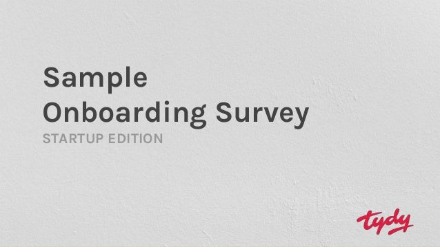 Sample Onboarding Survey STARTUP EDITION