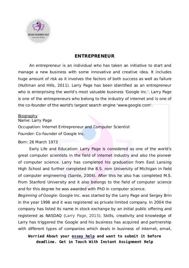 Sample on entrepreneur