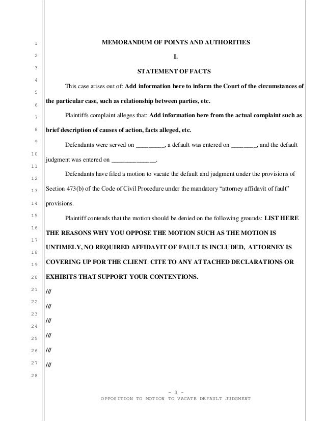 Sample opposition to motion to vacate in California with an attorney – Affidavit of Facts Template