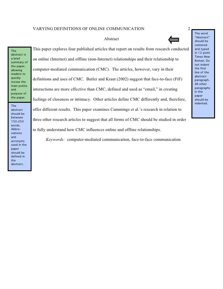 how to write an abstract for a research paper purdue owl