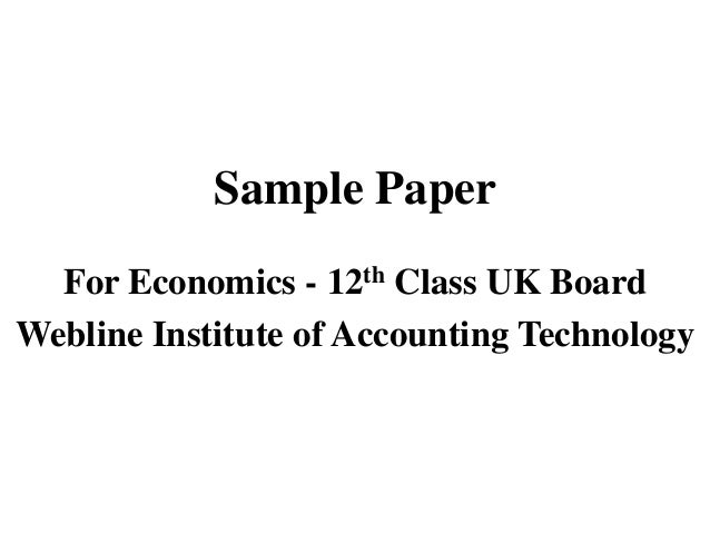 Sample paper for economics 12th class uk board