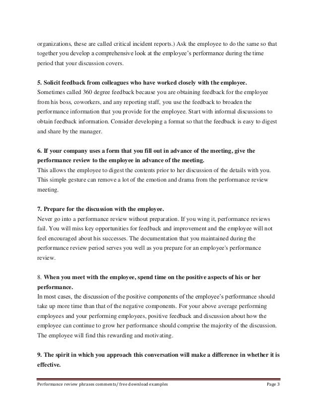 Sample performance evaluation phrases