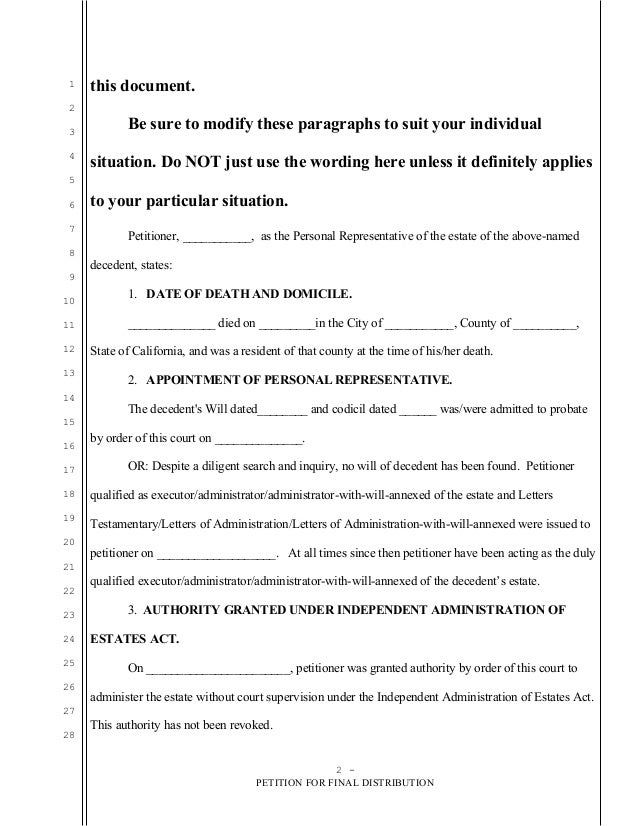 Sample Petition For Final Distribution For Probate In California