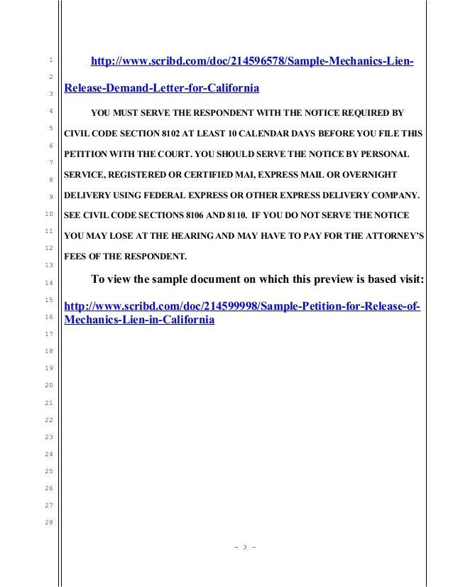 Mechanics Lien Removal Letter — Vila