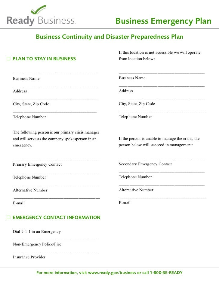 Ready.gov Sample Disaster Planning Template