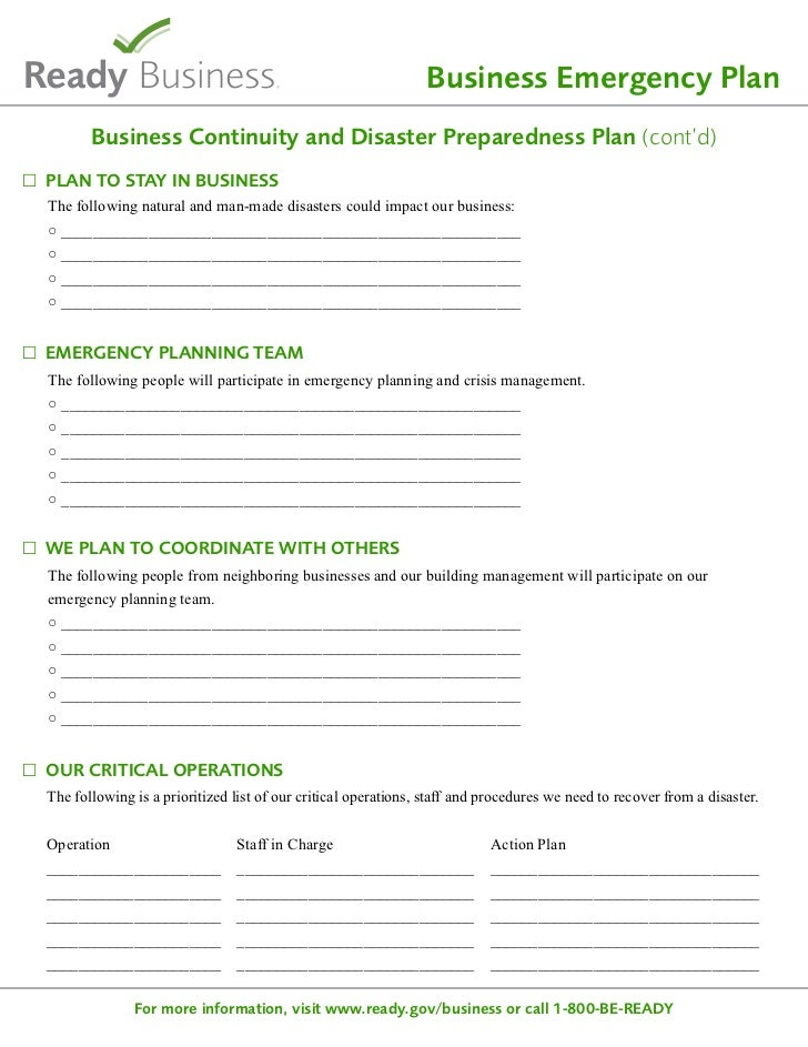 Readygov Sample Disaster Planning Template - Business emergency plan template