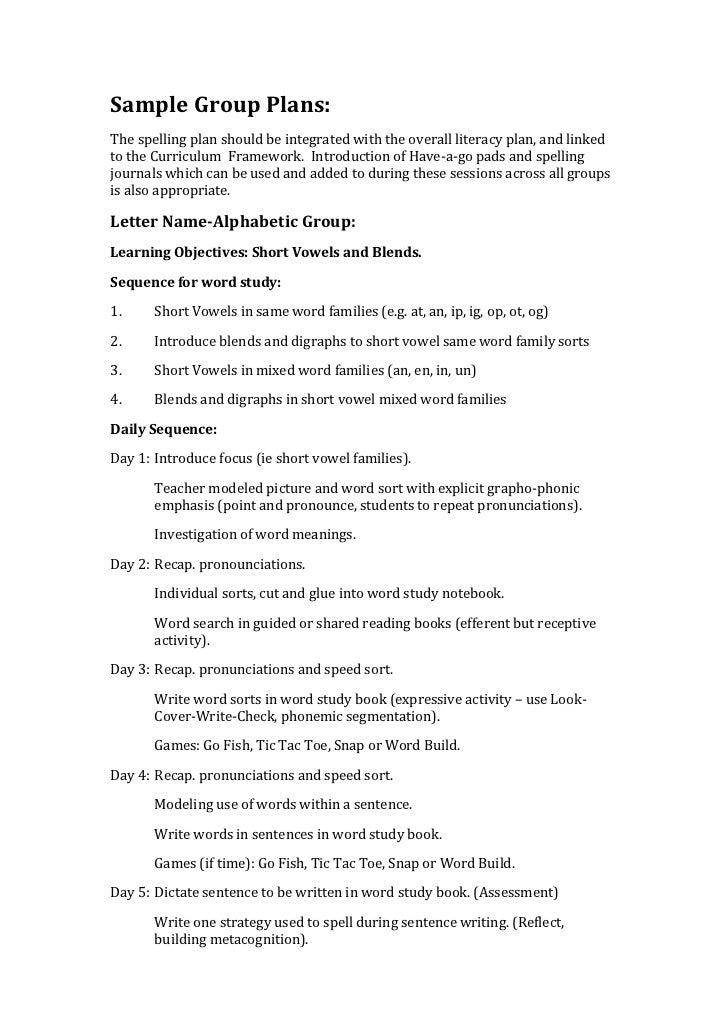 Sample Spelling Plans