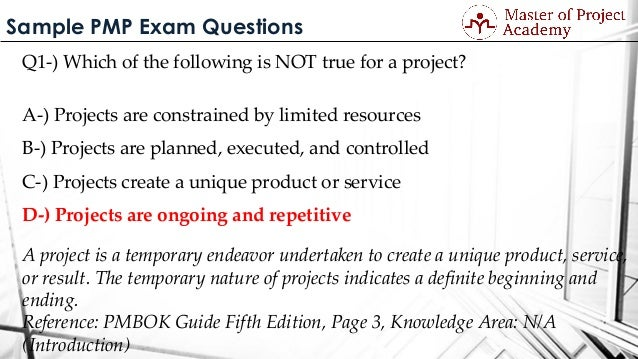 pmp exam sample questions