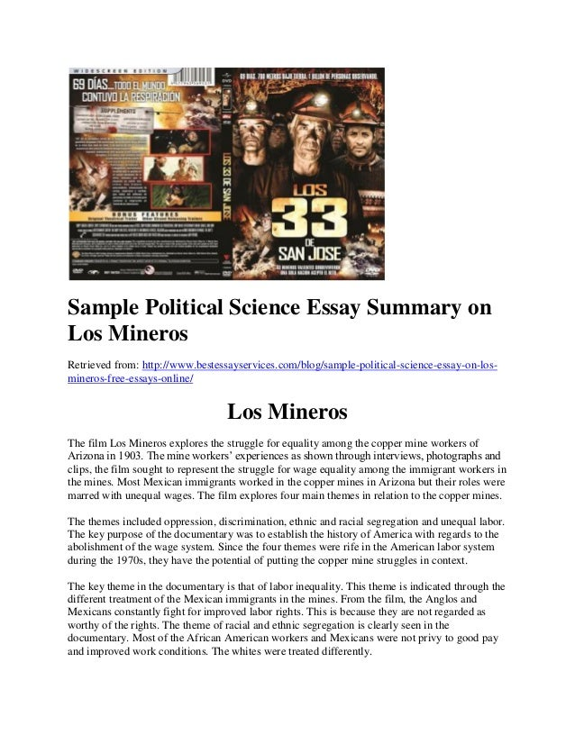 Sample Political Science Essay Summary On Los Mineros Retrieved From:  Http://www ...
