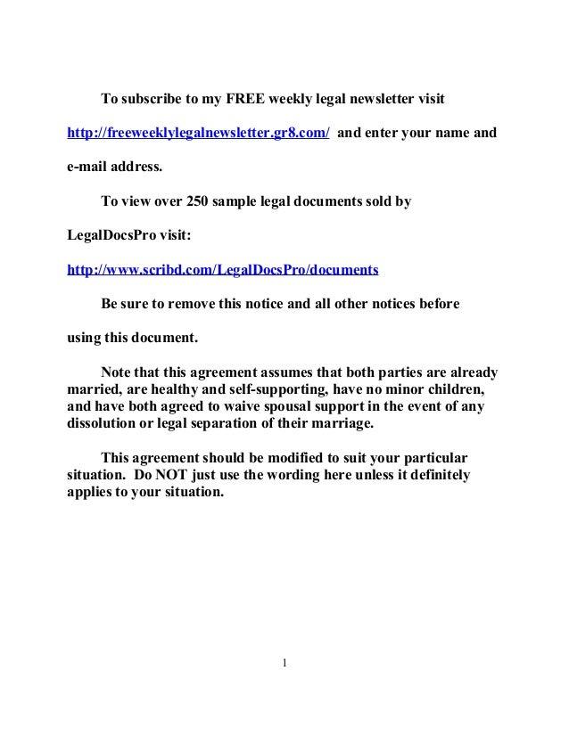 Sample California Postnuptial Agreement