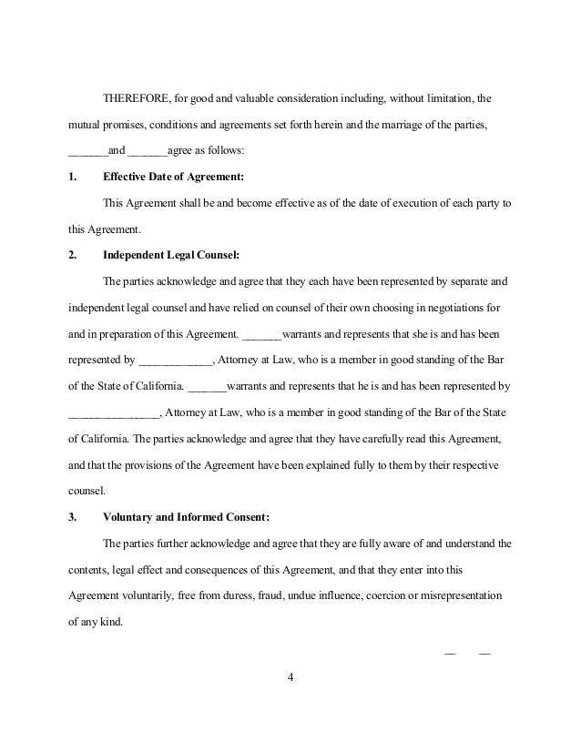 Sample California Postnuptial Agreement