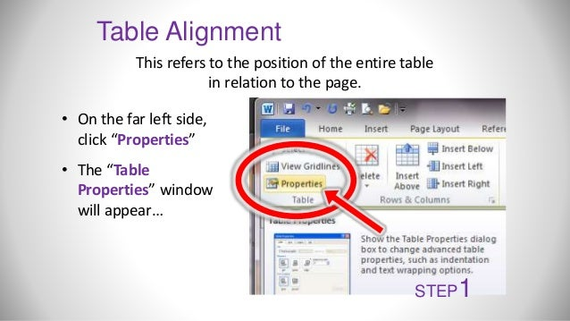 Microsoft word working with tables for Table th left align
