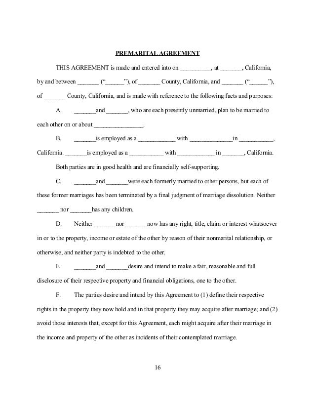 Sample Premarital (Prenuptial) Agreement For California
