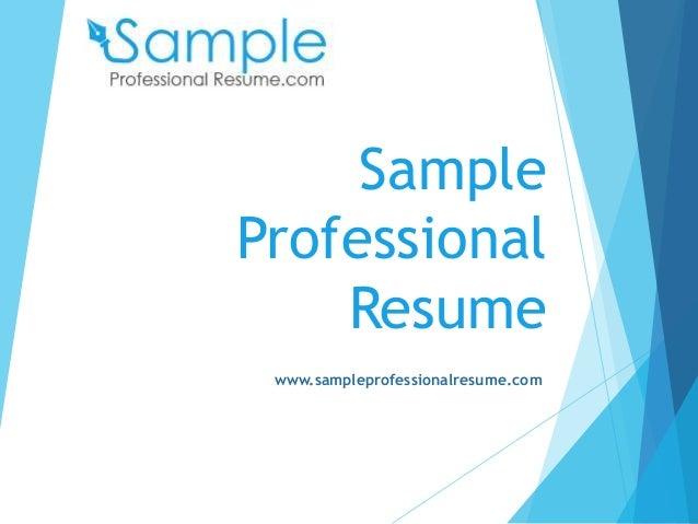 Professional Resume Samples