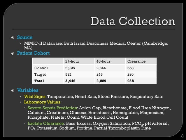 ! Source • MIMIC-II Database: Beth Israel Deaconess Medical Center (Cambridge, MA) ! Patient Cohort ! Variables • Vit...