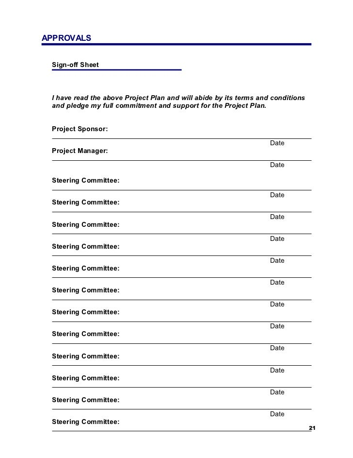 Sample Sign Out Sheet  Approvals SignOff Sheet Sample Project