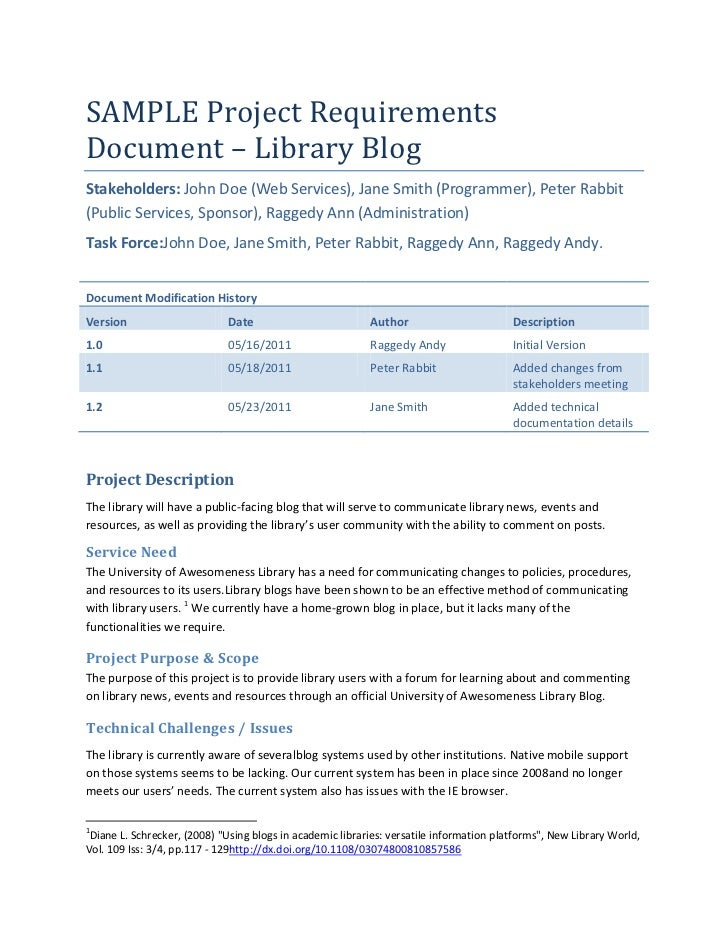SAMPLE Project RequirementsDocument U2013 Library BlogStakeholders: John Doe  (Web Services), ...
