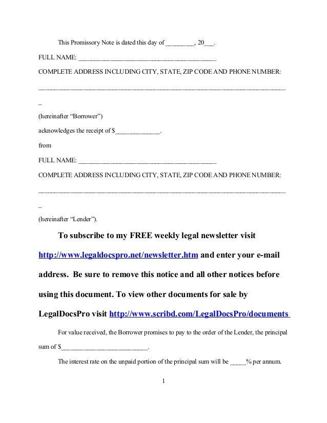 FREE Sample promissory note