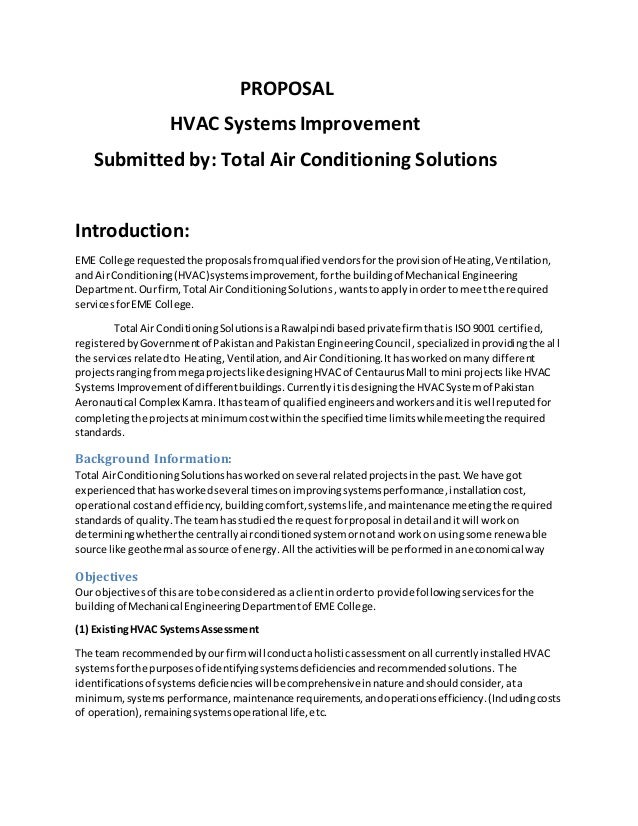 High Quality PROPOSAL HVAC ... Ideas Hvac Proposal Template