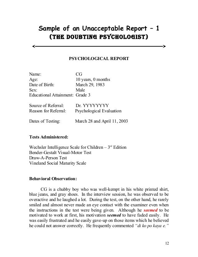 Sample psych reports format – Sample Reports
