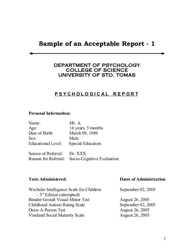 Sample Psych Reports Format