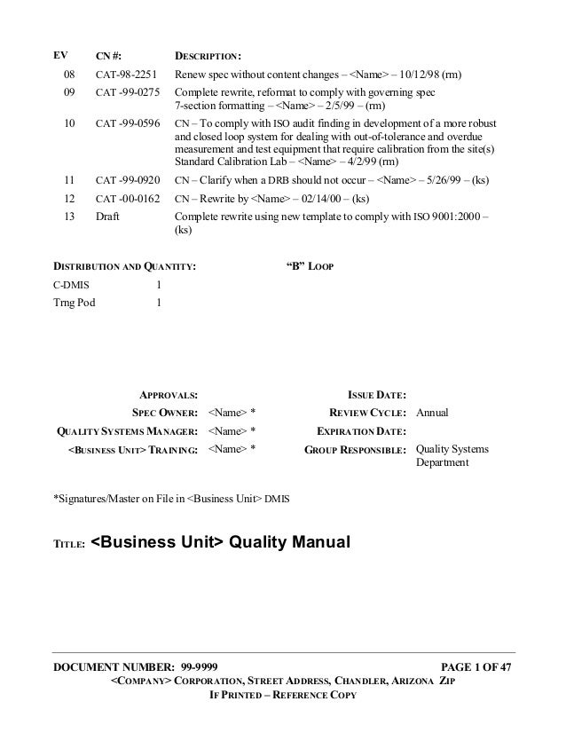 DOCUMENT NUMBER: 99-9999 PAGE 1 OF 47 <COMPANY> CORPORATION, STREET ADDRESS, CHANDLER, ARIZONA ZIP IF PRINTED – REFERENCE ...