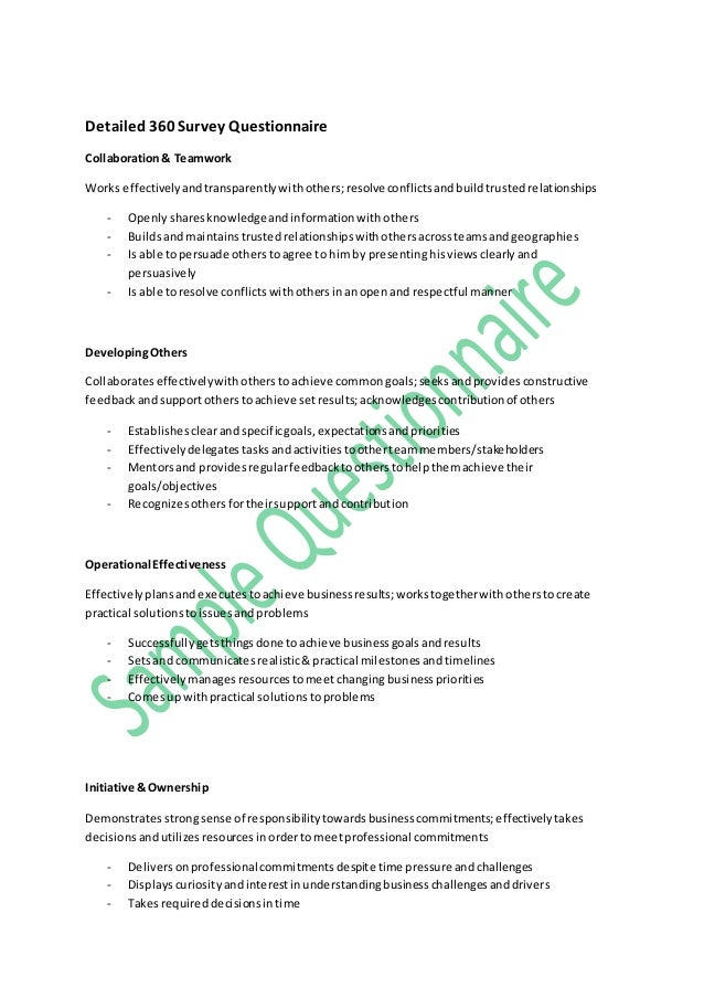 Sample questionnaire 360 feedback – Sample 360 Evaluation