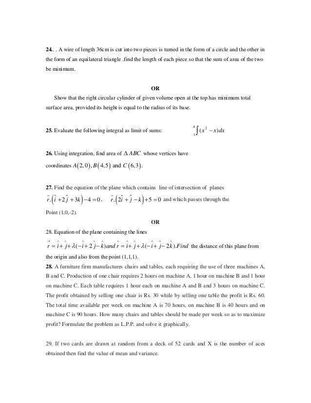 class xii cbse mathematics sample question paper solution 4 24