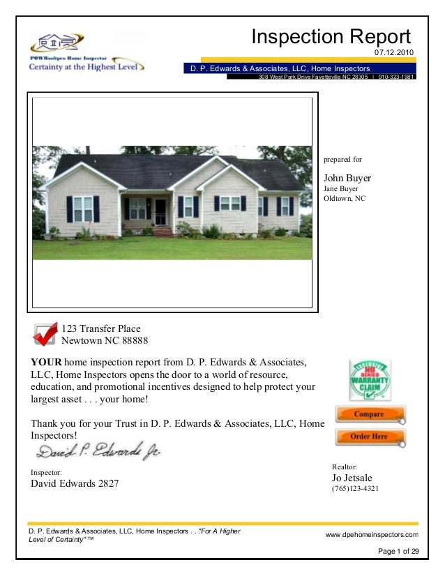 Inspection Report 07.12.2010 D. P. Edwards & Associates, LLC, Home Inspectors 308 West Park Drive Fayetteville NC 28305 | ...