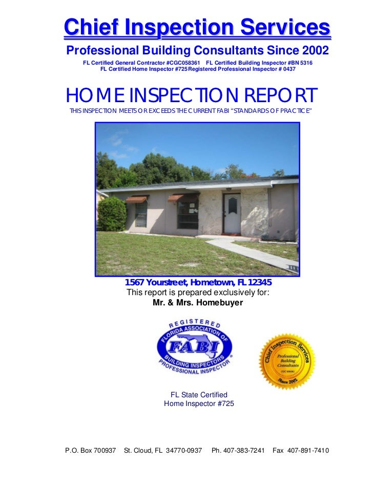 Chief Inspection Services    Professional Building Consultants Since 2002         FL Certified General Contractor #CG...