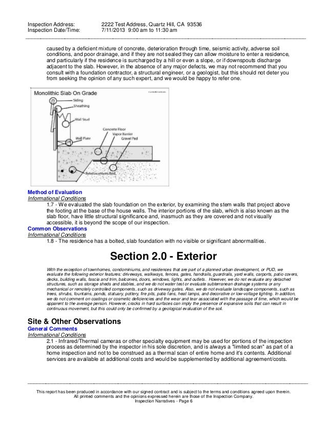 Concrete Inspection Report : Sample home inspection report
