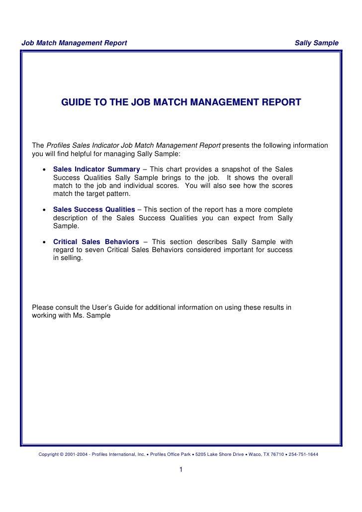 Sample Report Of PSI Management Report on bob job, tony job, charlie job,