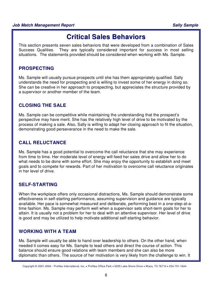 sample report of psi management report