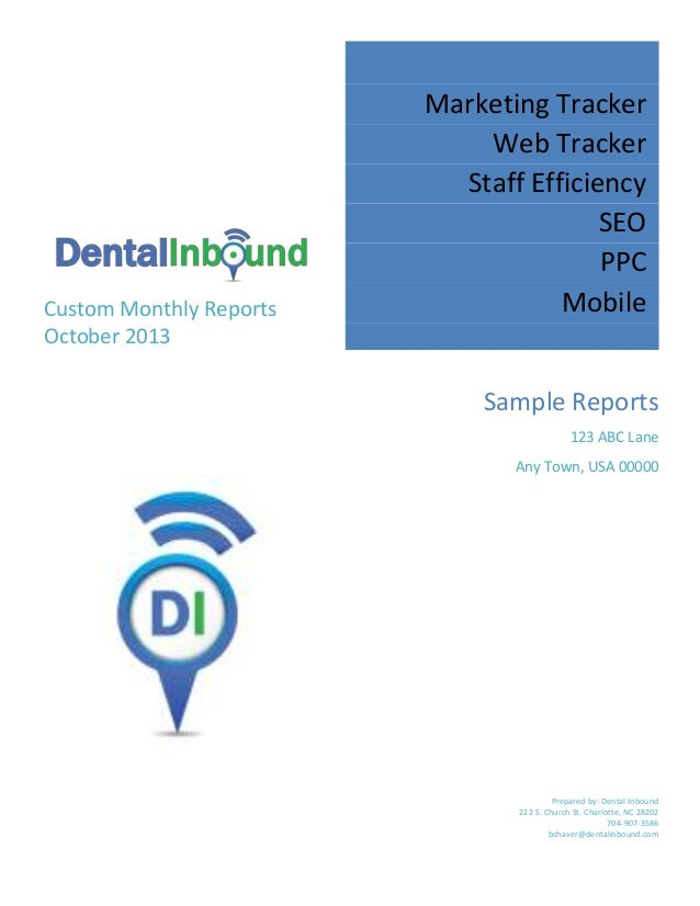 Custom Monthly Reports October 2013  Marketing Tracker Web Tracker Staff Efficiency SEO PPC Mobile Sample Reports 123 ABC ...
