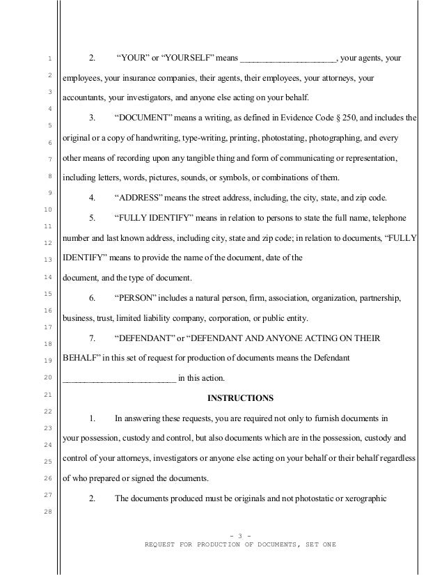 Sample California request for production of documents