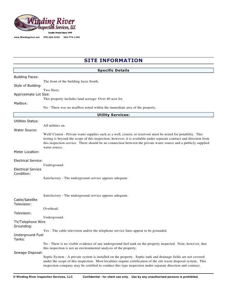 Sample Residential Inspection Report