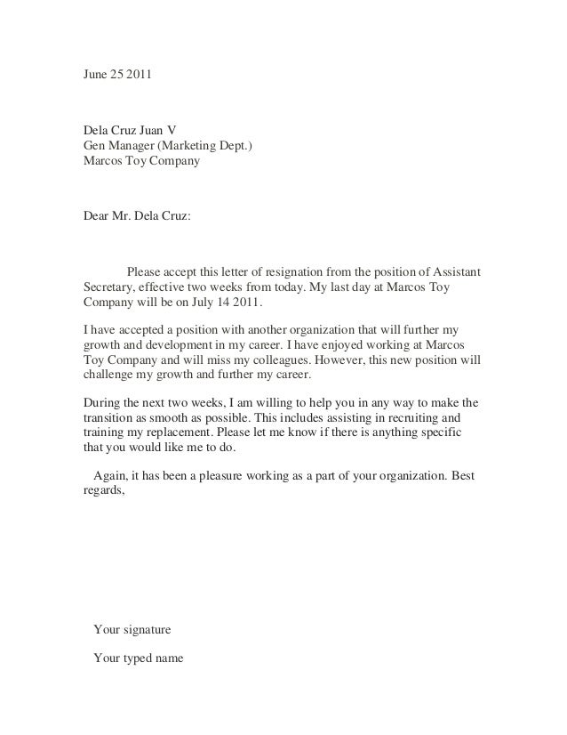 Sample resignation letter 1 – Resignation Letter from a Position