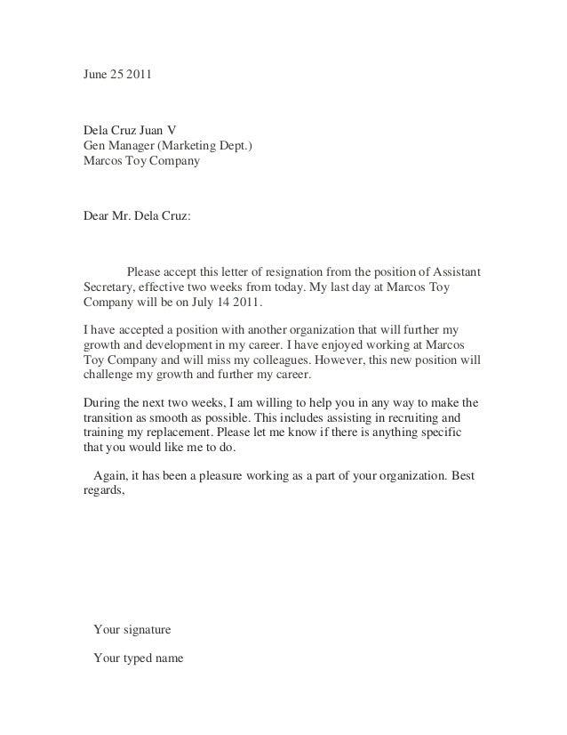 SlideShare  Sample Of Resignation Letter