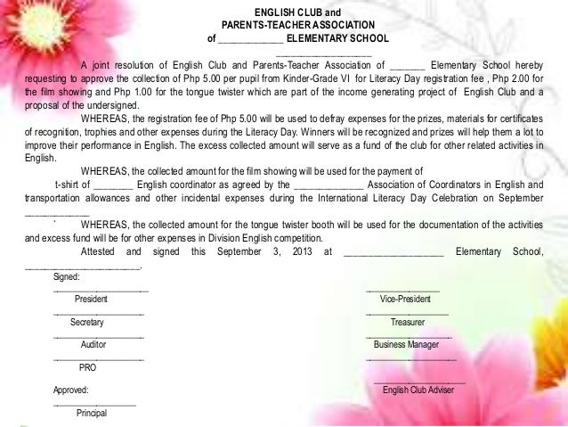 Sample Resolution English Club By Jackie Lou A Almira