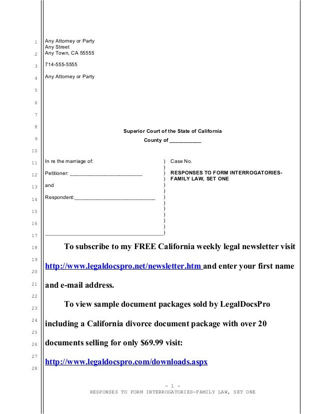 Sample responses to form interrogatories for California divorce