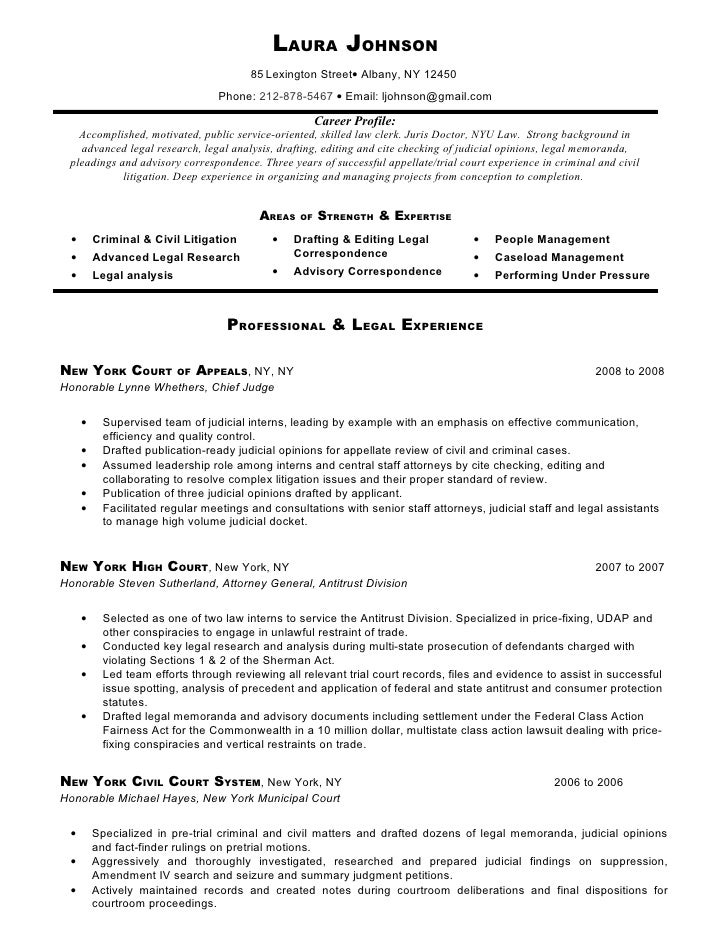 sample resume laura johnson 85 - Legal Clerk Sample Resume