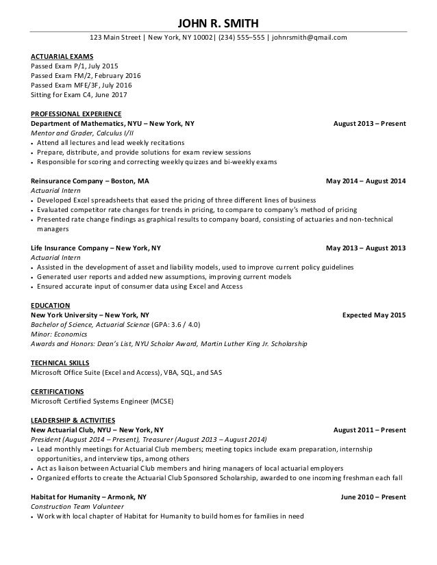 SlideShare  Actuarial Science Resume