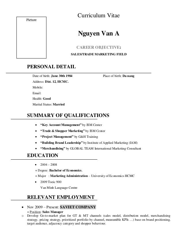 Sample Resume Sales English