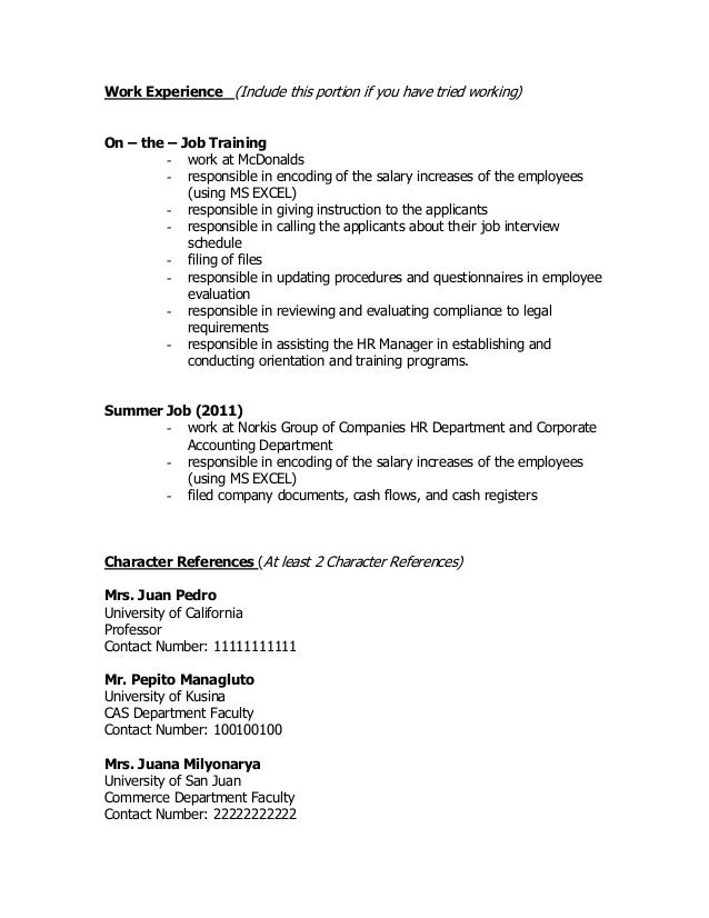 Sample Resume Format Of Resume For Job Application To Download Data
