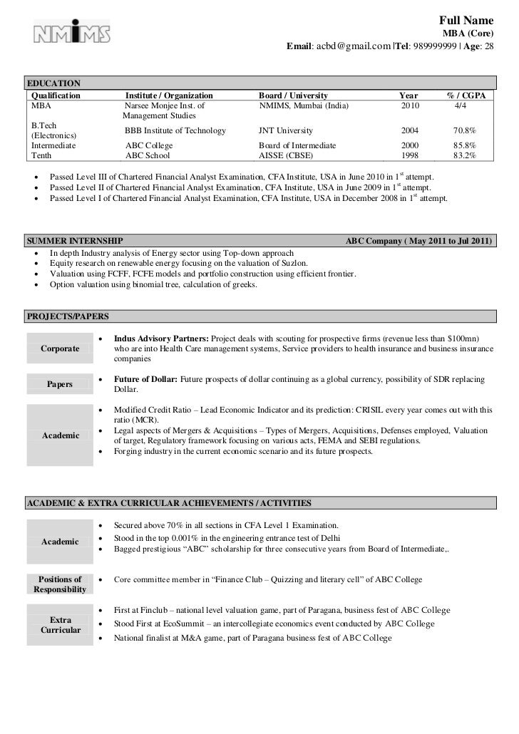 Sample Mba Resume  KakTakTk