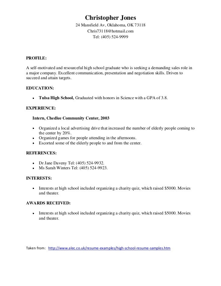 Samples of good resumes for Sample resume for high school students applying for scholarships