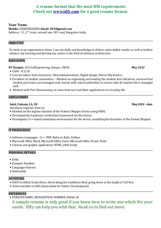 Freshers Resume Objective 324342 Awesome One Page Resume Sample For