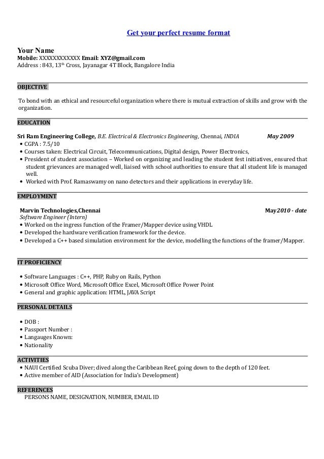 Sample resume format for software engineer fresher