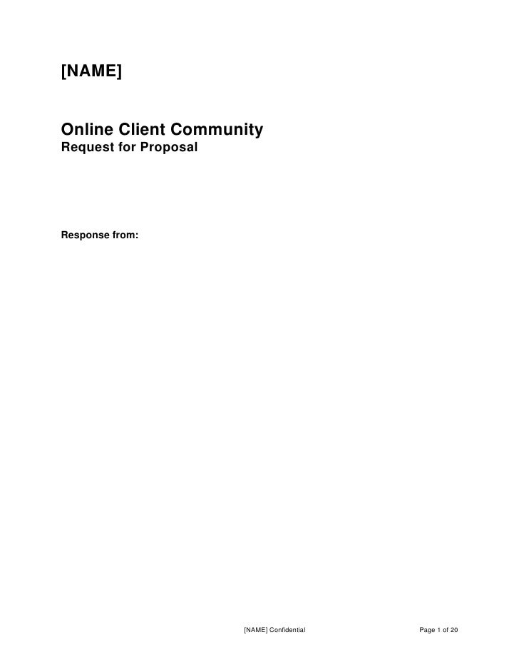 [NAME]Online Client CommunityRequest for ProposalResponse from:                       [NAME] Confidential   Page 1 of 20