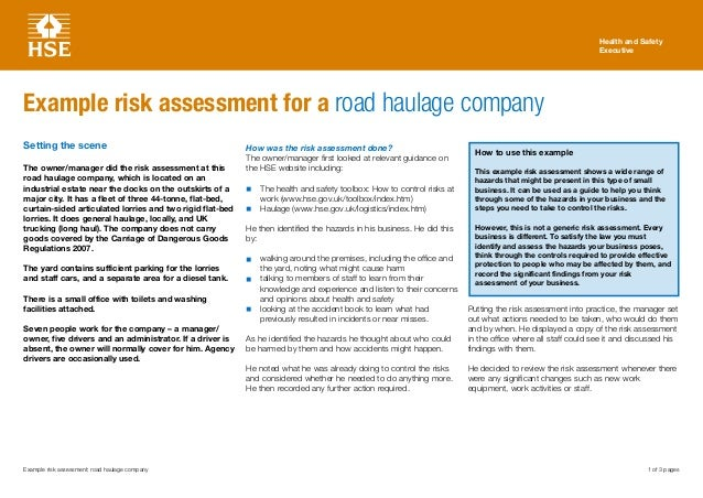 1 Of 3 Pages Health And Safety Executive Example Risk Assessment: Road  Haulage Company Example ...